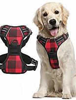 "cheap -dog harness plaid for large dogs, no-pull dog walking harness with front back leash clips, adjustable padded dog chest harness, reflective easy dog vest harness w/handle (chest 20.5-36"")"
