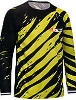cheap -21Grams Men's Long Sleeve Downhill Jersey Yellow Blue Novelty Bike Top Mountain Bike MTB Road Bike Cycling Breathable Quick Dry Sports Clothing Apparel / Stretchy