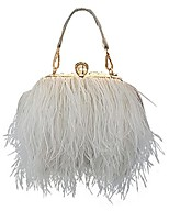 cheap -zakia real natural ostrich feather evening clutch shoulder bag party bag (white)