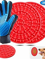 cheap -dog lick mat, peanut butter lick pad with strong suction to wall, slow feeder lick mat for dogs, durable food grade silicone lick pad for pet bathing, grooming, and dog training (red-red')