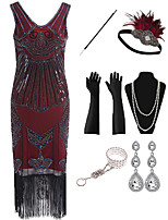 cheap -The Great Gatsby Vintage 1920s Flapper Dress Outfits Masquerade Women's Tassel Fringe Costume Red Vintage Cosplay Party Prom / Gloves / Headwear / Necklace / Bracelets & Bangles / Earrings