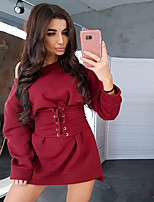 cheap -Women's A-Line Dress Short Mini Dress - Long Sleeve Solid Color Ruched Patchwork Spring Off Shoulder Sexy Slim 2020 White Black Red Blushing Pink Green S M L XL XXL