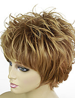 cheap -Synthetic Wig Curly Pixie Cut With Bangs Wig Short Blonde Synthetic Hair 12 inch Women's Ombre Hair Exquisite Fluffy Blonde