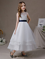 cheap -A-Line Jewel Neck Floor Length Lace / Tulle Junior Bridesmaid Dress with Tier