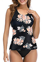 cheap -tankini swimsuits for women halter bathing suits crew neck two-piece swimwear tank top with bikini bottom black floral print s (fits like us 2-4)