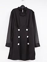 cheap -Women's Shift Dress Short Mini Dress - Long Sleeve Solid Color Mesh Patchwork Button Spring Fall Halter Neck Plus Size Elegant Oversized 2020 Black L XL XXL 3XL 4XL