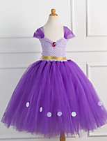 cheap -Princess Cosplay Costume Costume Girls' Movie Cosplay Tutus Plaited Vacation Dress Purple Dress Christmas Halloween Carnival Polyester / Cotton Polyester