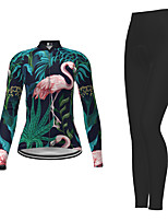 cheap -21Grams Men's Women's Long Sleeve Cycling Jersey with Tights Winter Polyester Dark Green Novelty Bike Jersey Tights Clothing Suit Breathable Quick Dry Moisture Wicking Back Pocket Sports Novelty