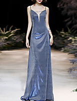 cheap -Sheath / Column Glittering Sexy Wedding Guest Formal Evening Dress V Neck Sleeveless Court Train Nylon with Bow(s) Sequin 2020