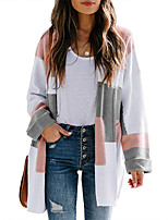 cheap -Women's Basic Long Knitted Color Block Cardigan Long Sleeve Sweater Cardigans Open Front Spring Fall Black Blue Blushing Pink