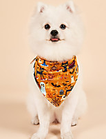 cheap -Dog Cat Halloween Costumes Dog Bandana & Dog Hat Dog Birthday Bandana Hat Skull Pumpkin Birthday Reversible Party Halloween Dog Clothes Double-Sided Yellow Costume Polyester S M
