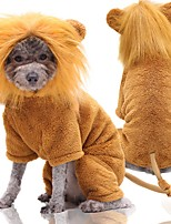 cheap -Dog Cat Costume Lion Cosplay Winter Dog Clothes Yellow Costume Flannel Fabric XS S M L XL XXL