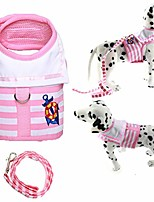 cheap -pink and white navy striped sailor anchor style pet dog harness and leash set for walking party (large)