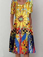 cheap -Women's Swing Dress Short Mini Dress - Short Sleeve Floral Print Summer Casual Slim 2020 Yellow S M L XL XXL 3XL 4XL 5XL