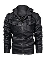 cheap -men's zip up slim faux leather motorcycle bomber black jacket with a removable hood