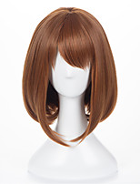 cheap -Synthetic Wig My Hero Academia / Boku No Hero kinky Straight Bob With Bangs Wig Short Brown Synthetic Hair Women's Cosplay Adorable Exquisite Brown