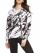 cheap -Women's T-shirt Graffiti Long Sleeve Print Round Neck Tops Basic Basic Top Black