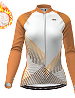 cheap -21Grams Women's Long Sleeve Cycling Jersey Winter Fleece Polyester White Gradient Geometic Bike Jersey Top Mountain Bike MTB Road Bike Cycling Thermal Warm Fleece Lining Breathable Sports Clothing