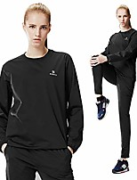 cheap -sauna suit women weight loss gym fitness exercise workout sweat training hot fat (black round suit, top - l/pants - l)