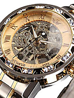 cheap -watches, men's watches mechanical hand-winding skeleton classic business fashion stainless steel steampunk dress watch gold litbwat