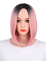 cheap -Synthetic Wig Straight Bob Middle Part Wig Short Pink Synthetic Hair Women's Anime Fashionable Design Party Pink / Ombre Hair