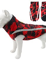 cheap -Dog Cat Coat Jacket Solid Colored Casual / Daily Winter Dog Clothes Black / White Red / Green Red Costume Polyester Cotton S M L XL XXL XXXL