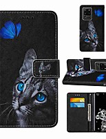 cheap -Case For Samsung Galaxy Note 20 Galaxy Note 20 Ultra Galaxy A21s Wallet Card Holder with Stand Full Body Cases Blue Butterfly Cat Eye PU Leather TPU for Galaxy A51 5G Galaxy A71 5G Galaxy S20 Ultra