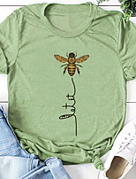 cheap -womens cute bee graphic tee shirts short sleeve let it bee funny letter print summer t-shirt tops & #40;red, xx-large& #41;