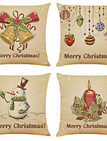 cheap -Set of 4 Retro christmas Linen Square Decorative Throw Pillow Cases Sofa Cushion Covers 18x18