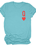 cheap -Women's T-shirt Solid Colored Round Neck Tops Cotton Basic Basic Top White Black Blue