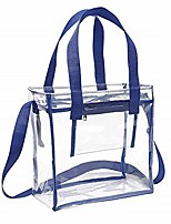 cheap -deluxe nfl stadium approved clear bag with adjustable shoulder strap and handles / 12 x 12 x 6 clear tote bag (navy)