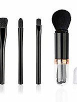 cheap -portable 4pcs makeup brush set, mini travel cosmetic brush set, retractable kabuki brushes face powder foundation blending bronzer brushes, lip brush, highlight brush, eyeshadow brush