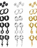 cheap -15 pairs stainless steel cross earrings hinged earrings cross dangle hoop cross earrings for men and women