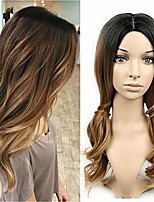 cheap -3 tone ombre wig black to brown blonde middle part high density heat resistant synthetic hair weave full wigs for women (black&brown&blonde)
