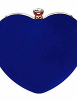 cheap -buddy mini handbag women heart shape clutch purse velvet shoulder bag evening tote chain purse navy blue