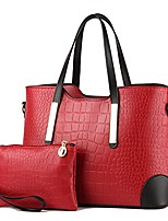 cheap -pu leather women top handle satchel handbags tote purse crocodile handbag (wine red)