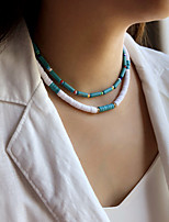 cheap -Women's Choker Necklace Beaded Necklace Handmade Friends Precious Joy Lucky Simple Luxury Unique Design Fashion Silicone Glass Stone Blue 40 cm Necklace Jewelry 2pcs For Gift Prom Street Beach