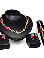 cheap -Women's Fuchsia Synthetic Diamond Bridal Jewelry Sets Lucky Simple Basic Elegant Earrings Jewelry Gold For Wedding Engagement 1 set