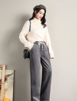 cheap -Women's Basic Daily Wide Leg Pants Solid Colored Breathable Black Khaki Gray S M L