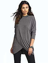 cheap -Women's T-shirt Solid Colored Long Sleeve Patchwork Round Neck Tops Cotton Basic Basic Top Black Dark Gray