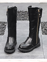 cheap -Girls' Boots Slouch Boots Leather Little Kids(4-7ys) / Big Kids(7years +) Walking Shoes Black Fall / Winter / Mid-Calf Boots