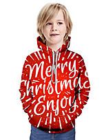 cheap -Kids Boys' Basic Letter Christmas Long Sleeve Hoodie & Sweatshirt Red