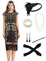 cheap -The Great Gatsby Vintage 1920s Flapper Dress Outfits Masquerade Women's Tassel Fringe Costume Golden / Red / Green Vintage Cosplay Party Prom / Gloves / Headwear / Necklace / Bracelets & Bangles