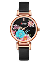 cheap -CURREN Women's Quartz Watches Quartz Modern Style Floral Style Minimalist Water Resistant / Waterproof Analog Rose Gold Black Gold / One Year / Genuine Leather / Japanese / Shock Resistant