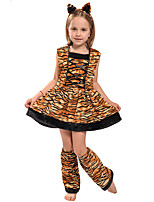 cheap -Tiger Dress Cosplay Costume Party Costume Kid's Girls' Cosplay Vacation Dress Halloween Halloween Festival / Holiday Polyester Brown Easy Carnival Costumes / Headwear / Headwear
