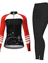 cheap -21Grams Women's Long Sleeve Cycling Jersey with Tights Winter Polyester Black / Yellow Purple Red Novelty Bike Jersey Tights Clothing Suit Breathable Quick Dry Moisture Wicking Back Pocket Sports