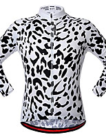 cheap -21Grams Men's Long Sleeve Cycling Jacket Black / White Leopard Bike Jersey Top Mountain Bike MTB Road Bike Cycling UV Resistant Breathable Quick Dry Sports Clothing Apparel / Stretchy