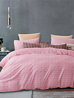 cheap -Pink Grid Strip Print 3-Piece Duvet Cover Set Hotel Bedding Sets Comforter Cover with Soft Lightweight Microfiber(Include 1 Duvet Cover and 1or 2 Pillowcases)