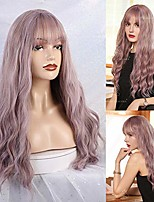 cheap -long wave wigs hair thin bangs synthetic wig for women 28 inches natural curly wave with air bang replacement wig for party cosplay body wavy mix light purple color