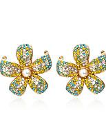 cheap -Women's Drop Earrings Earrings Dangle Earrings Fancy Star Petal Luxury Elegant Korean Colorful Cool Imitation Diamond Earrings Jewelry Red / Yellow For Gift Prom Vacation Street Festival
